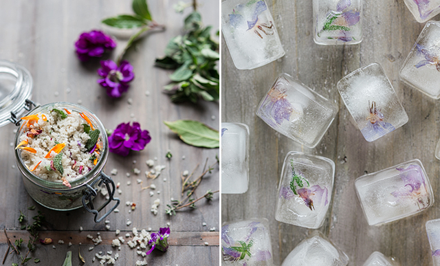 Herb salt and floral ice cubes |  nathalie.ie