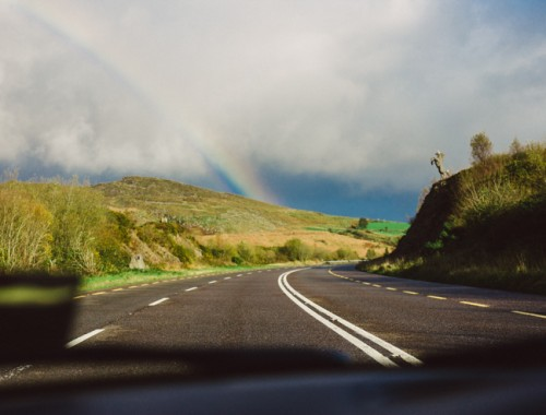Rainbow on the road from Kenmore, Co Kerry | nathalie.ie